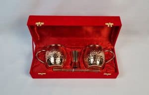 Moscow Mule Cocktail Mug Sets, Pure Copper Mugs, Copper Mugs Red Velvet Gift Box, Moscow Mule Mugs Gift Idea