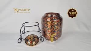 Copper Water Dispenser Pot 5 Litre with brass tap Green Print