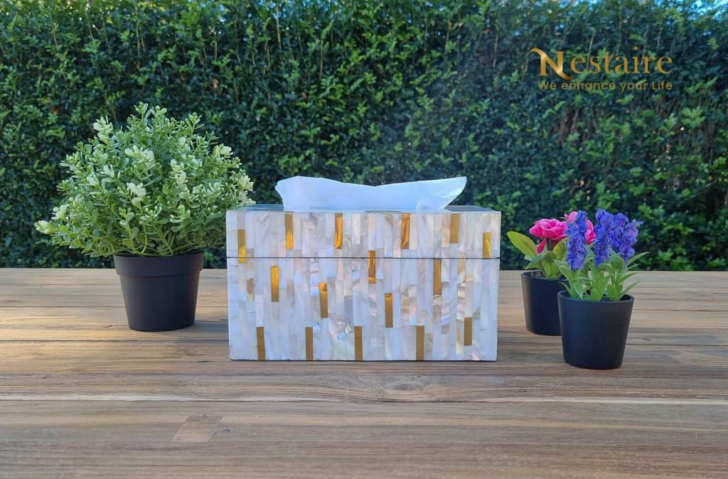 Mother of Pearl Facial Tissue Box Cover RITZ