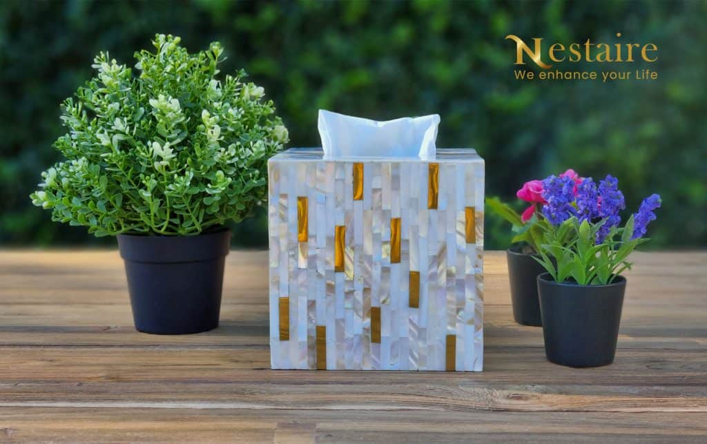 Mother of Pearl Facial Tissue Holder LUXE