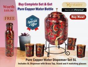 Copper Water Dispenser Set Red 5 Litre Promotion